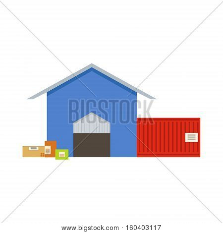 Warehouse Building Exterior View With Two Depot Rooms In Blue Store And Red Shipping Container. Part Of Storehouse And Logistic Service Depository Collection Of Vector Illustrations.