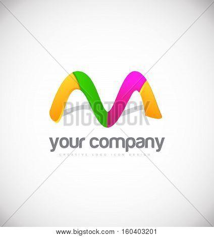 Alphabet letter m colors vector logo icon sign design template