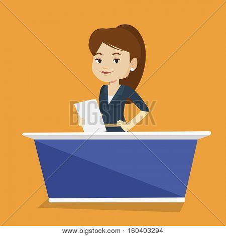 Television anchorwoman working at studio. Young caucasian television anchorwoman at studio during live broadcasting. Tv anchorwoman reporting the news. Vector flat design illustration. Square layout.