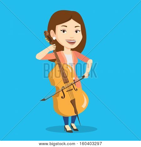 Young happy caucasian musician playing cello. Cellist playing classical music on cello. Young smiling female musician with cello and bow. Vector flat design illustration. Square layout.