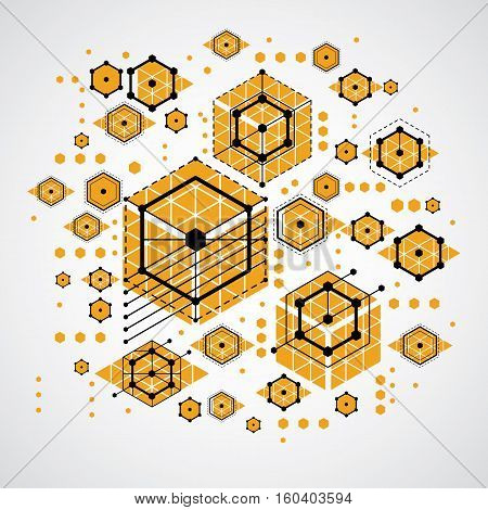 Vector Abstract Colorful Background Created In Bauhaus Retro Style. Modern Geometric Composition Can