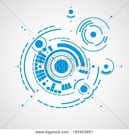 Vector Abstract Blue Background Created In Bauhaus Retro Style. Modern Geometric Composition Can Be