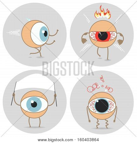 Eyes cartoon icon. Bad emotions. Angry run patient expression. Vector