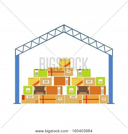 Warehouse Building Metal Roof Construction With Piled Up Paper Box Packages Stored Underneath. Part Of Storehouse And Logistic Service Depository Collection Of Vector Illustrations.