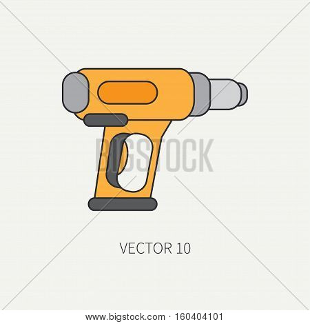 Line flat vector icon with building electrical tool dryer. Construction and repair work. Powerful industrial instrument. Cartoon style. Illustration , element for your design. Engineering. Soldering.