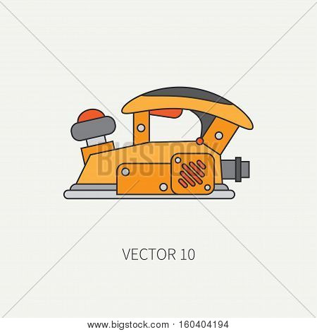 Line flat vector icon with building electrical tool - planer. Construction and repair work. Powerful industrial instrument. Cartoon style. Illustration , element for your design. Engineering. Work.