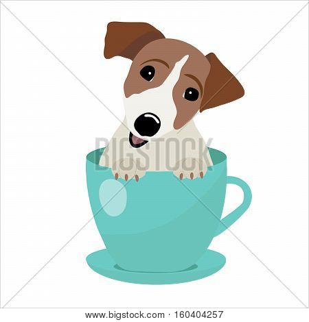 Jack Russell Terrier in blue teacup, illustration, set for baby fashion.