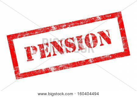 Pension rubber stamp in red ink on white background
