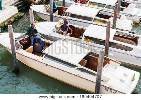 Water Taxis In Canal Of Venice City