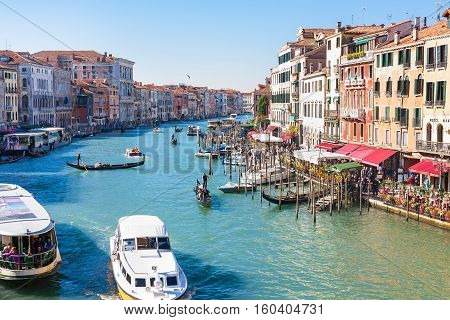 Traffic On Grand Canal In Venice City