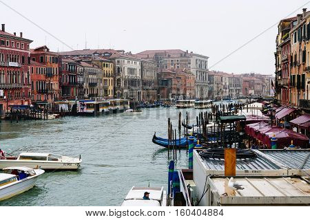 Traffic On Grand Canal In Venice City In Rain
