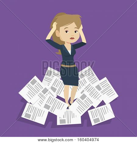 Overworked business woman having a lot of paperwork. Caucasian businesswoman surrounded by lots of papers. Businesswoman standing in the heap of papers. Vector flat design illustration. Square layout.
