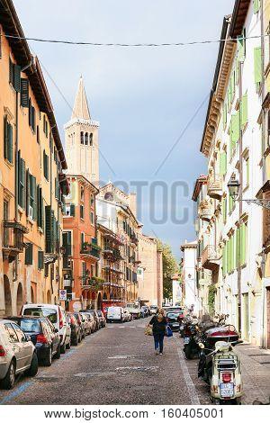 Via Sottoriva Street In Old Town Verona