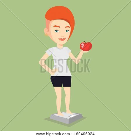 Caucasian woman with apple in hand weighing after diet. Woman satisfied with result of his diet. Woman on a diet. Dieting and healthy lifestyle concept. Vector flat design illustration. Square layout.