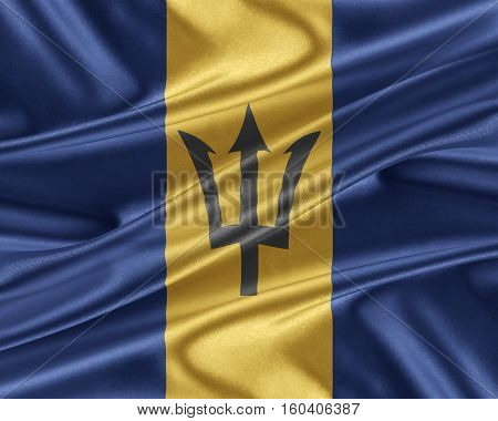 Barbados flag. Flag with a beautiful glossy silk texture.