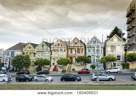 San Francisco CA USA october 26 2016: World famous row of Victorian homes known as the Painted Ladies