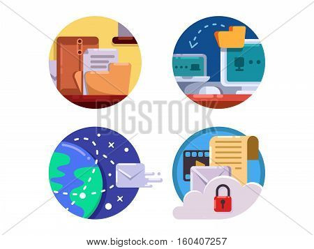 Documentation and document management in business icon set. Vector illustration