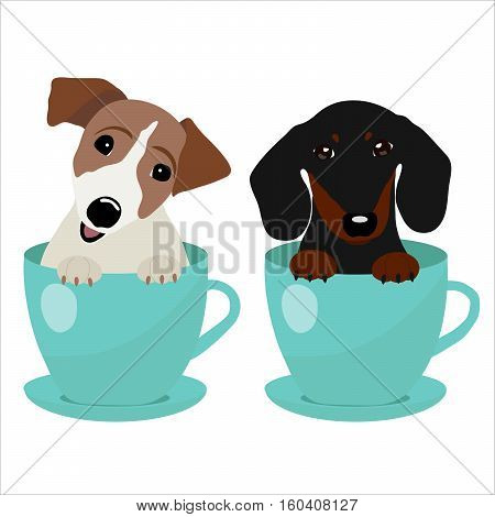 Jack Russell Terrier and Dachshund dog in blue teacup, illustration, set for baby fashion.