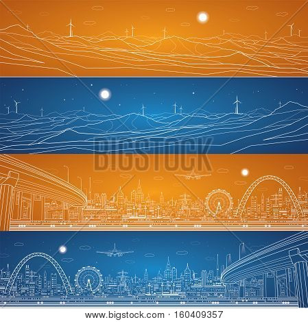 Energy industrial and city infrastructure panorama, mountains landscape, night town, bridges and towers, white lines composition ob blue and orange background, vector design art
