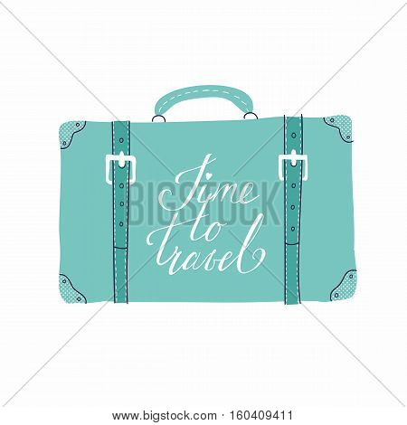 Vector template for card on the theme of travel vacation adventure. Retro 50's style. Suitcase with handdrawn lettering Time to travel