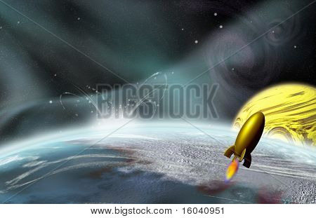 Rocket flys by planetary impact