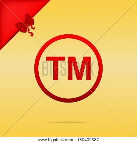 Trade Mark Sign. Cristmas Design Red Icon On Gold Background.