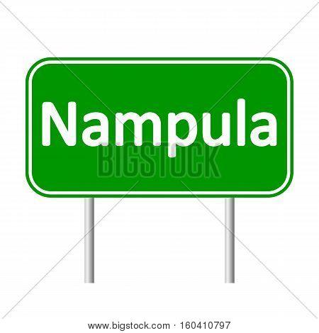 Nampula road sign isolated on white background.