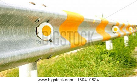 Guardrail reflective paint blocking is safety for car on the roadside or highway at Cholburi province Thailand.