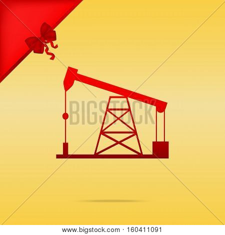 Oil Drilling Rig Sign. Cristmas Design Red Icon On Gold Backgrou