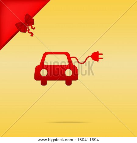 Eco Electric Car Sign. Cristmas Design Red Icon On Gold Backgrou