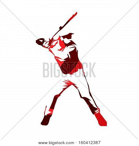 Abstract red baseball player vector isolated illustration. Baseball batter