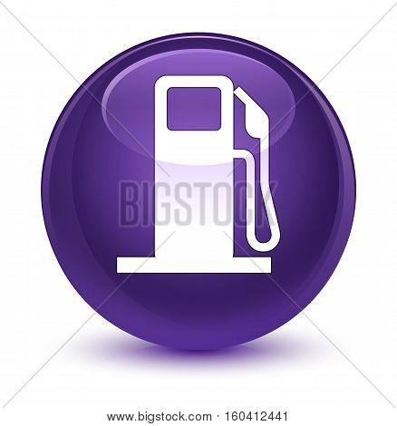 Fuel Dispenser Icon Glassy Purple Round Button