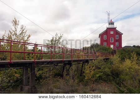 Marquette Harbor Lighthouse: bridge for rescuers to Lake Superior, Marquette County, Michigan, USA