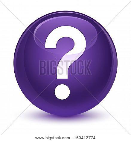 Question Mark Icon Glassy Purple Round Button