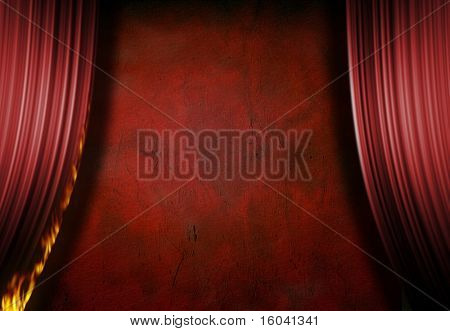 Red stage with burning curtain