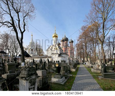 Moscow, Russia - October 25, 2016:  Donskoy Monastery. Medieval Russian Churches On The Territory --