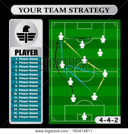Soccer Tactic Table. Vector Illustration. The Tactical Scheme Of 4-4-2
