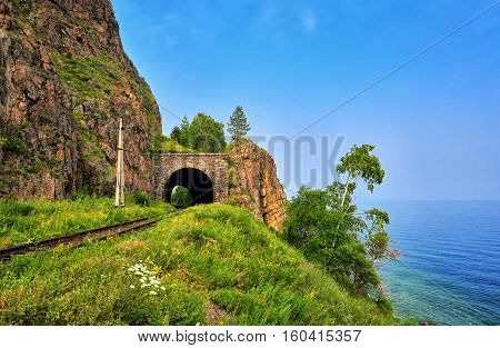 Short Browsing Railway Tunnel On Lake Baikal