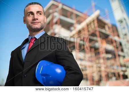 Mature engineer in a construction site