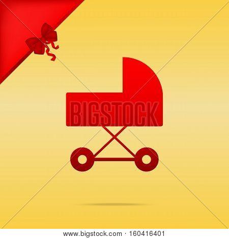 Pram Sign Illustration. Cristmas Design Red Icon On Gold Backgro