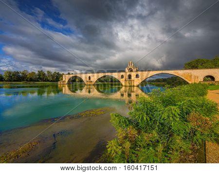 Pont d'Avignon on the Rhone river in Avignon, France.