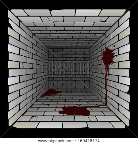 brick box in perspective. 3d room with spots and puddles of blood on the wall and on the floor