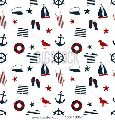 Marine seamless background. icon set. marine style