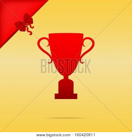 Champions Cup Sign. Cristmas Design Red Icon On Gold Background.