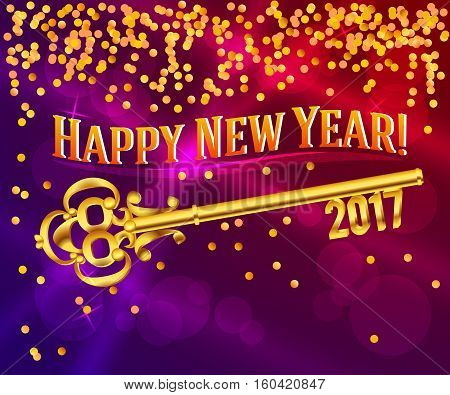 Card Happy New Year 2017 on bright red background festive glittering gold confetti and vintage golden key. Concept of the beginning year open path prosperity and well-being. Vector illustration EPS 10