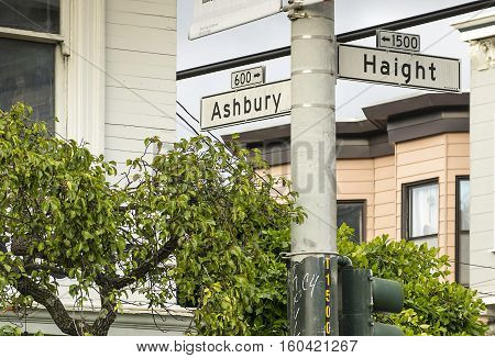 Street Sign at the famous Haight and Ashbury in San Francisco.