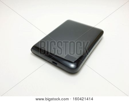 black External hard disc on a white background.