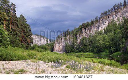 beautiful summer landscape White River South Ural
