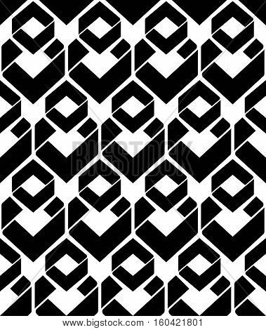 Monochrome endless vector texture with geometric figures motif abstract contemporary geometric background. Creative black and white symmetric continuous pattern.