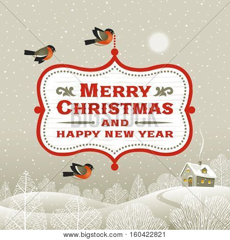 Christmas signboard over winter landscape. Editable vector illustration with clipping mask.